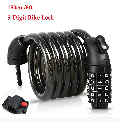 YIHATA Bike Lock Cable High Security 5 Digit Resettable Combination Coiling Bike Cable Lock Bicycle Cable Lock for Bicycle Outdoors (B - 6ft/180cm)