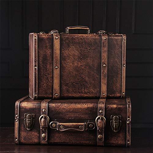 Antike Koffer Dekorative Koffer (2er-Set) Altertümlich Antike Vintage-Stil aus Holz Koffer Gepäckbox for Regal Home Decor Birthday Parties Displays Photoshoots Vintage-Aufbewahrungsbehälter-Trunk