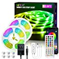 LED Strip Lights 32.8ft, RGB LED Light Strip, Led Music Sync Color Changing Light Timing with 44 Keys Music Remote Bluetooth APP Controller Rainbow Led Lights for Bedroom, TV, Party