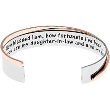 WUSUANED Stainless Steel Best Daughter Ever Cuff Bangle Bracelet Gift for Daughter