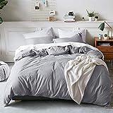 Bedsure 100% Washed Cotton Duvet Cover Queen Size Grey Comforter Cover Bedding Set 3 Pieces (1 Duvet Cover + 2 Pillow Shams)