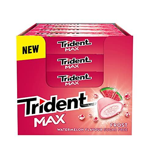 Trident Max Frost Watermelon - Chicles sin Azúcar con Sabor a Sandía - Paquete de 16 Envases de 20 g