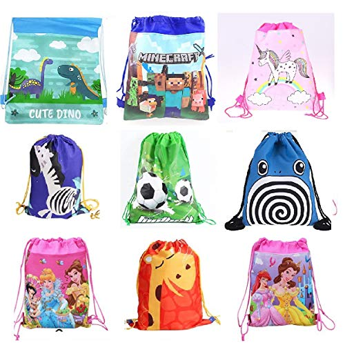 Sillyme Cartoon Printed Dori Bag for Kids Favor / Haversack Bag - Birthday Party Return Gift (Mix Design (12pcs)