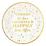 Crisky Cheers to Love Gold Plates for Bridal Shower, Wedding, Engagement, Bachelorett Party Decorations, Dessert, Buffet, Cake, Lunch, Dinner Disposable Plates Party Supples, 50 Count, 9' Plate