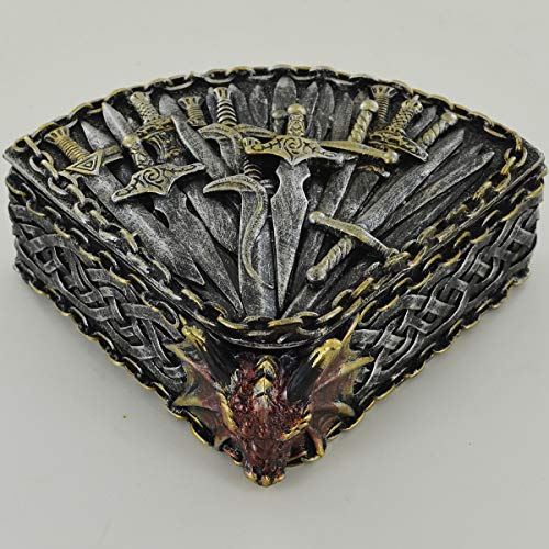Prezents.com Sword & Dragon Trinket Box Incredibly Detailed Storage Pot or Altar Ornament for Fantasy & Magic Fans