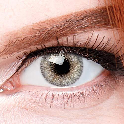 Graue Premium Kontaktlinsen Jasmine Grau - Natürliche Stark Deckende Silikon Comfort Linsen für Helle und Dunkle Augen + Behälter - 1 Paar (2 Stück) - DIA 14.00 - Ohne Stärke 0.00 Dioptrien