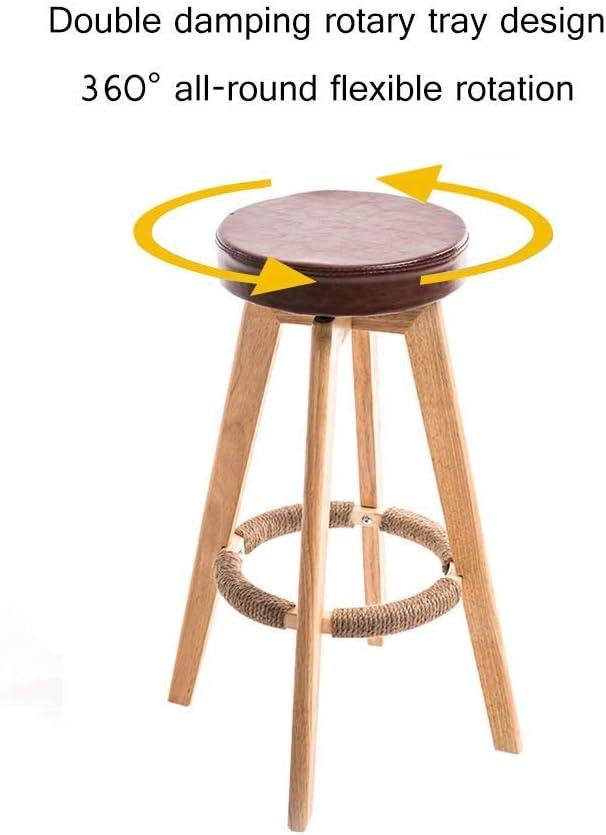 LUO Tabouret de bar Tabourets hauts Maison Tabouret de bar en bois massif Rotation minimaliste moderne Chaise de réception européenne créative (73 cm),blanc Marron