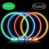 PetIsay LED Leuchthalsband Hund Halsband USB wiederaufladbar, Längenverstellbarer Haustier Sicherheit Kragen für Hunde und Katzen, 3 Modus(Grün)