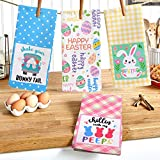 CiyvoLyee Easter Kitchen Towels Set of 4 Happy Easter Rabbit Bunny Eggs Dish Towels Hand Towels Kit 18x28 Inches Novelty Gift for Easter Home Decor Housewarming Birthday Party Supplies