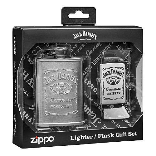 Zippo Gift Jack Daniels-Flask and Lighter I Geschenk-Set, s Flachmann und Feuerzeug, Metall, Messing, 22.5 cm