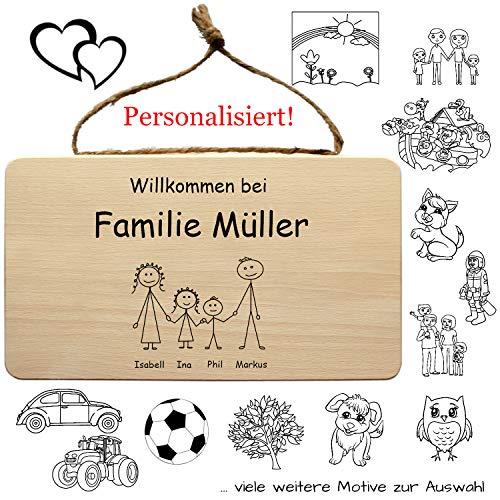 Familienschild aus Holz, personalisiert mit Nachnamen und Vornamen der Familie + lustigen Sprüchen - Türschild, Familientürschild, Familienwappen, Klingelschild, Haustürschild, Namensschild