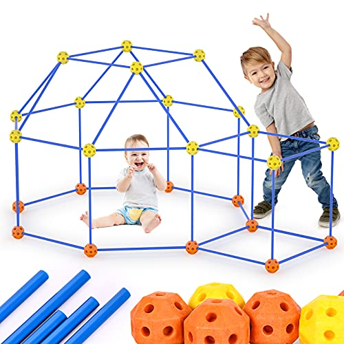 Eaietc Fort Building Kit 69 Pieces Kids Fort Toys Ages 5+ DIY Building Castles Tunnels Play Tent Rocket Indoor & Outdoor Creative Toys with 44 Rods and 25 Spheres