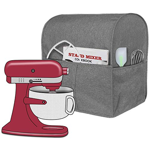 Homai Stand Mixer Cover Compatible with Bowl Lift 5-8 Quart KitchenAid Mixer, Cloth Dust Cover with Pocket for Extra Attachments (Gray)