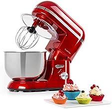 Klarstein Bella Elegance Küchenmaschine Rührmaschine, 1300W/1,7PS in 6 Leistungsstufen mit Pulsfunktion, Planetarisches Rührsystem, 5l Edelstahlschüssel, 3-tlg. Silberfarbene Applikationen, rot