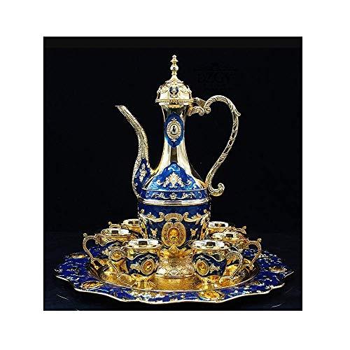 KTDT Weinset, Weinkrug und Weinglas-Set, 8 Stück, Zinklegierung, Dekoration im europäischen Stil, Einweihungsparty-Hochzeitsgeschenk (Farbe: Blau)