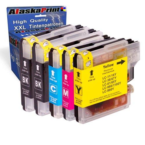 5X Druckerpatronen kompatibel für Brother LC-980 XL LC980 XL Brother DCP-145C DCP-163C DCP-165C DCP-167C DCP-185C DCP-195C DCP-365CN DCP-373CW DCP-375CW