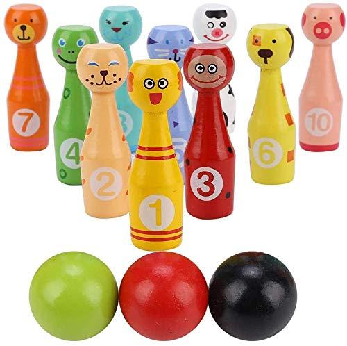 Afunti Bowling-Set aus Holz, Kegelspielzeug mit 10 Tiernadeln, 2 Bällen, Lernspielzeug für Kinder ab 2 3 4 5 Jahren