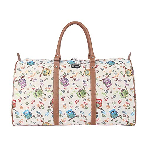 Signare Gobelin-Gepäcktasche für Reisen und Sport/große Reisetasche für Damen Sporttasche Damen mit Garten Designs (Eule)