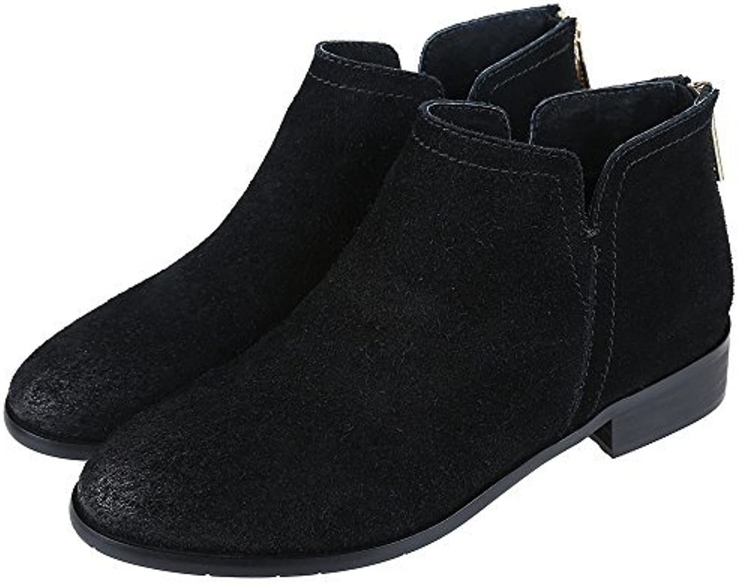 Meeshine Womens Boots Leather Suede Low Heel Side V Cut Ankle Bootie