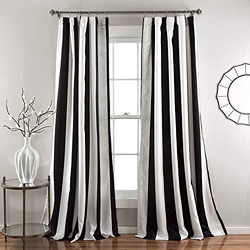 Lush Decor, Black Wilbur Stripe Room Darkening Window Curtain Panel Pair, 108' x 52', 108' L