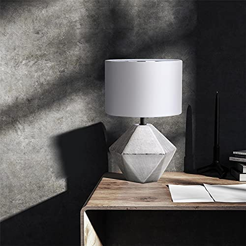 Aigostar - Lámparas de Mesita de Noche, φ220mm. Forma de diamante, Plateado. Lámpara de Cerámica E14 (Bombilla no incluida), Pantalla de Tela, Lámpara Escritorio Diseño moderno para Estudio, Salón