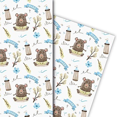 Niedliches Baby Geschenkpapier ob zu Taufe oder Geburt mit Bärchen und Fläschchen, hellblau, für tolle Geschenk Verpackung und Überraschungen (4 Bogen, 32 x 48cm)