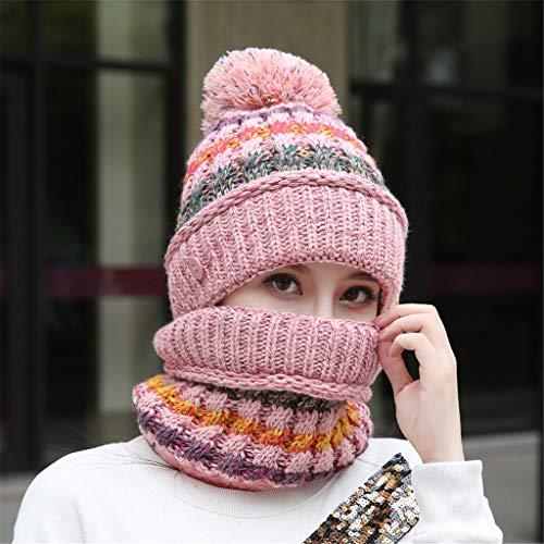 ELECTRI Vente De Liquidation l'hiver Madame ÉPaissir Protection Auditive Bavoir Costume Bonnet Tricoté Casquette De Ski Bonnets Hats Chapeaux (Rouge,One Size)