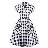 GLOGLOW Vestido Estilo escocés Estilo Vintage para Mujer, Solapa con Cuello en v una línea Elegante Vestido de Fiesta con Bolsillos(XL)