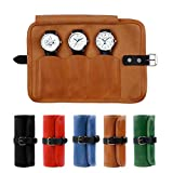 Karasto Leather Watch Roll Travel Organizer Holds Up to 3 Watches Case Handmade Watchlover Storage for Men and Women (Tobacco)