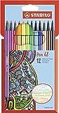 Feutre à dessin - STABILO Pen 68 - Étui carton x 12 feutres pointe moyenne - Coloris assortis