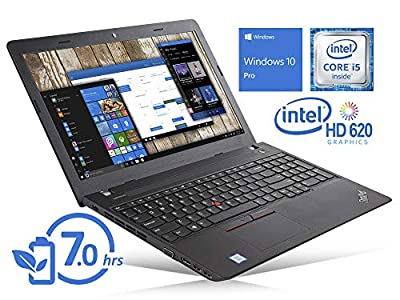 "Lenovo ThinkPad E570 Laptop, 15.6"" HD Display, Intel Core i5-7200U Upto 3.1GHz, 8GB RAM, 256GB NVMe SSD + 1TB HDD, DVDRW, VGA, HDMI, Card Reader, Wi-Fi, Bluetooth, Windows 10 Pro (Renewed)"