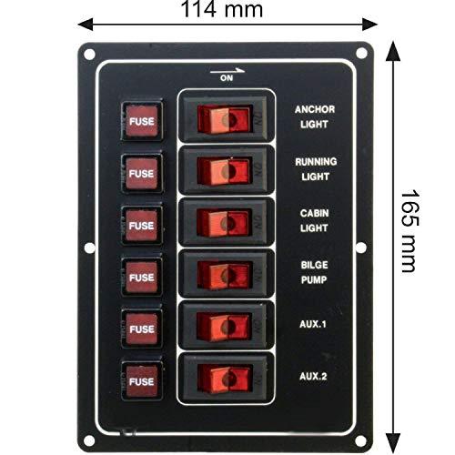 Mareteam Sicherungspaneel für Boote mit Beleuchtung - 6 Fach