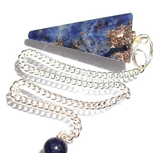 Péndulo cónico de cristal para radiestesia y sanación - gemas naturales genuinas (Sodalita)