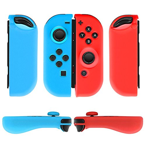 TNP Gel Guards with Thumb Grips Caps Works for Nintendo Switch Joy-Con Grip - Protective Case Covers Anti-Slip Ergonomic Lightweight Design Comfort Grip Controller (1 Pair Neon Blue + Red)