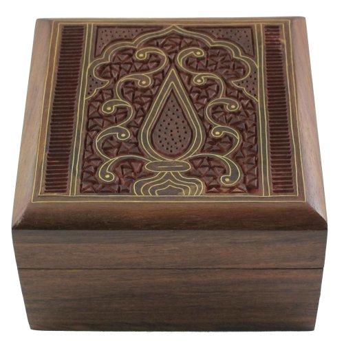Shalinindia Boîte à Bijoux en Bois Incrustation Décor Art Islamique et à découper Taille : 10 x 10 x 5.7 cm