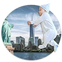 ソフトラウンドエリアラグ 100x100cm/39.4x39.4IN 滑り止めフロアサークルマット吸収性メモリースポンジスタンディングマット,ニューヨーク州の無料の女の子の像