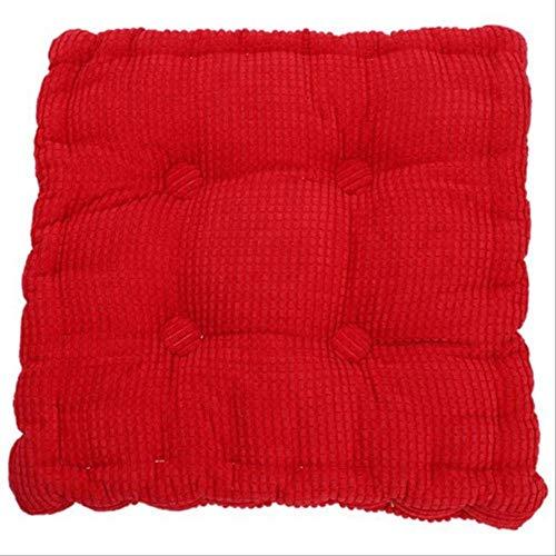 ZXCVASD Cojines elásticos de Pana Gruesa para Silla de Cocina Cojín de Asiento de Color sólido Cojín de Suelo Cuadrado Lavable a máquina 50x50cm Rojo