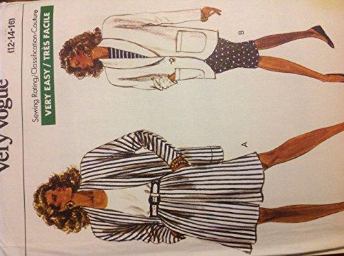 Vogue 7481Schnittmuster für 12–14–16Lang ungefüttert Schalkragen Jacke, Seitentasche Culotte, Shorts, Slim Bund Back Zip Rock