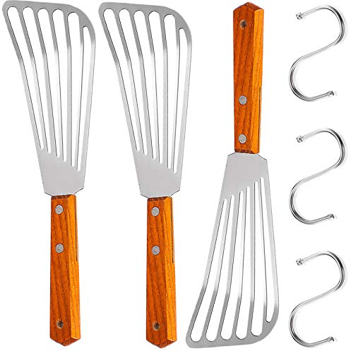Fish Spatula Set, Stainless Steel Slotted Turner Metal Slotted Spatula for Flipping, Turning, Frying & Grilling with Wooden Handle