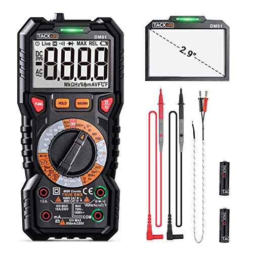 Digital Multimeter TRMS 6000 Counts,LED Intelligent Indicator Jack, Manul Ranging Measuring AC/DC Voltage,AC/DC Current,Resistance,Capacitance,Frequency/Duty,Diode, Continuity test, NCV+LIVE