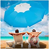 3. Beach Umbrella with Sand Anchor, Outdoor Portable Beach Umbrella for Sand with Adjustable Tilt Aluminum Pole,6.5ft Travel Wind Resisitance Umbrella with Carry Bag for Beach Patio Outside(Bule-white)