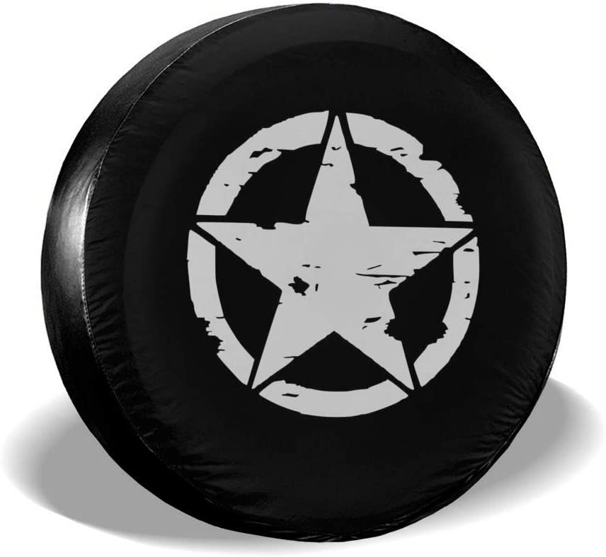 Foruidea Military Tactical Star Spare Tire Cover Waterproof Dust-Proof UV Sun Wheel Tire Cover Fit for Jeep,Trailer RV SUV and Many Vehicle 16 Inch