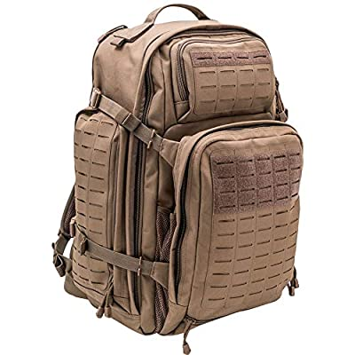 LA Police Gear Atlas 72H MOLLE Tactical Backpack for Hiking, Rucksack, Bug Out, or Hunting-Brown