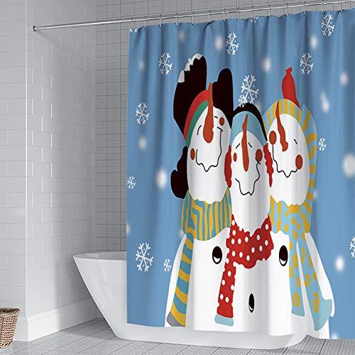 Michorinee Weihnachten Duschvorhänge Schneemann Schneeflocke Muster Anti-Schimmel Wasserdicht Anti-Bakteriell Badezimmer Blau Vorhang für Badewanne 180 × 180 cm