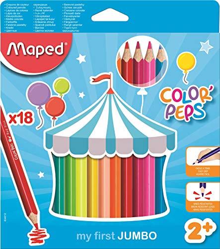 Maped Color'Peps Crayons de Couleur Maxi pour Enfants, Premiers Crayons de Coloriage pour Bébé +2 ans – Boîte de 18 crayons Jumbo Assortis