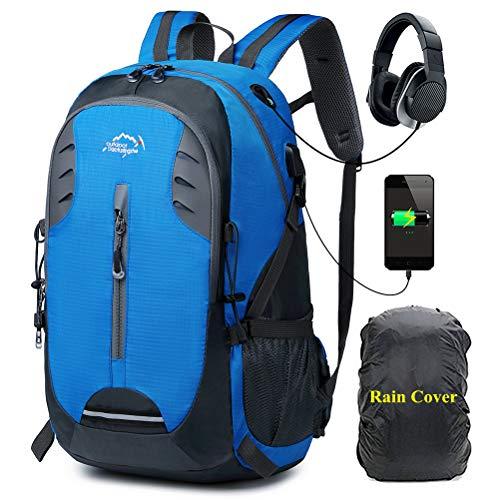 A AM SeaBlue 30L Zaino Trekking Uomo e Donna Hiking Backpack Montagna Viaggio Leggero Zaino per Campeggio Viaggi Alpinismo,Impermeabile Parapioggia Zaini con Porta USB,Blu