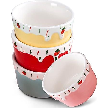 Porcelain Dessert Bowls, Jemirry 5oz Ceramic Ramekin Bowls Oven Safe Ice Creme Souffle Cups for Baking-Set of 4, Colorful