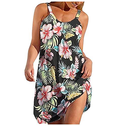 NAQUSHA Vestido sin mangas de cuello en O para mujer, casual, de verano, con cuello redondo, plisado, vestido de fiesta, para vacaciones, playa