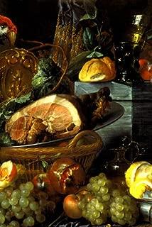 MEAT FRUITS BREAD OYSTER LEMON WINE STILL LIFE PAINTING BY JAN DAVIDSZ DE HEEM LARGE REPRO ON CANVAS