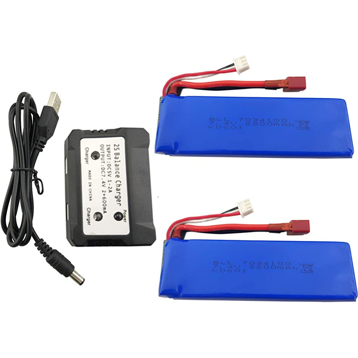 sea jump 2PCS 7.4V 2200mAh Lithium Battery + 2in1 Charger for WLtoys K949 10428 10428-A L202 RC High-Speed Remote Control Car Upgraded Lithium Battery High-Rate T-Type Plug Battery